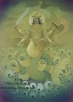 Click to the website of Sanatan Society for a larger image of this Planet Ketu painting