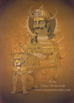 Click to the website of Sanatan Society for a larger image of this Planet Rahu painting