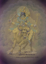 Click to the website of Sanatan Society for a larger image of this Planet Saturn painting