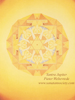 Click to the website of Sanatan Society for a larger image of this Jupiter Yantra painting