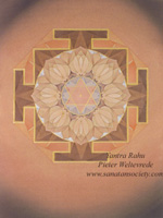 Click to the website of Sanatan Society for a larger image of this Rahu Yantra painting